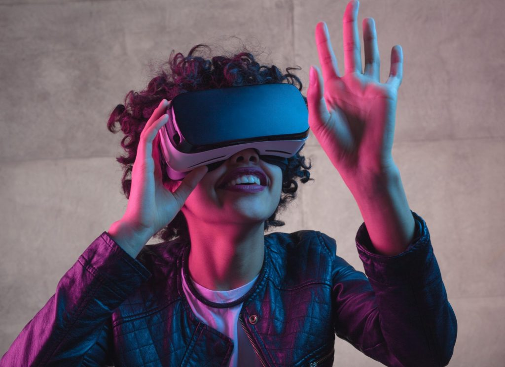 Sales Simulation Training Person wearing Virtual Reality Goggles