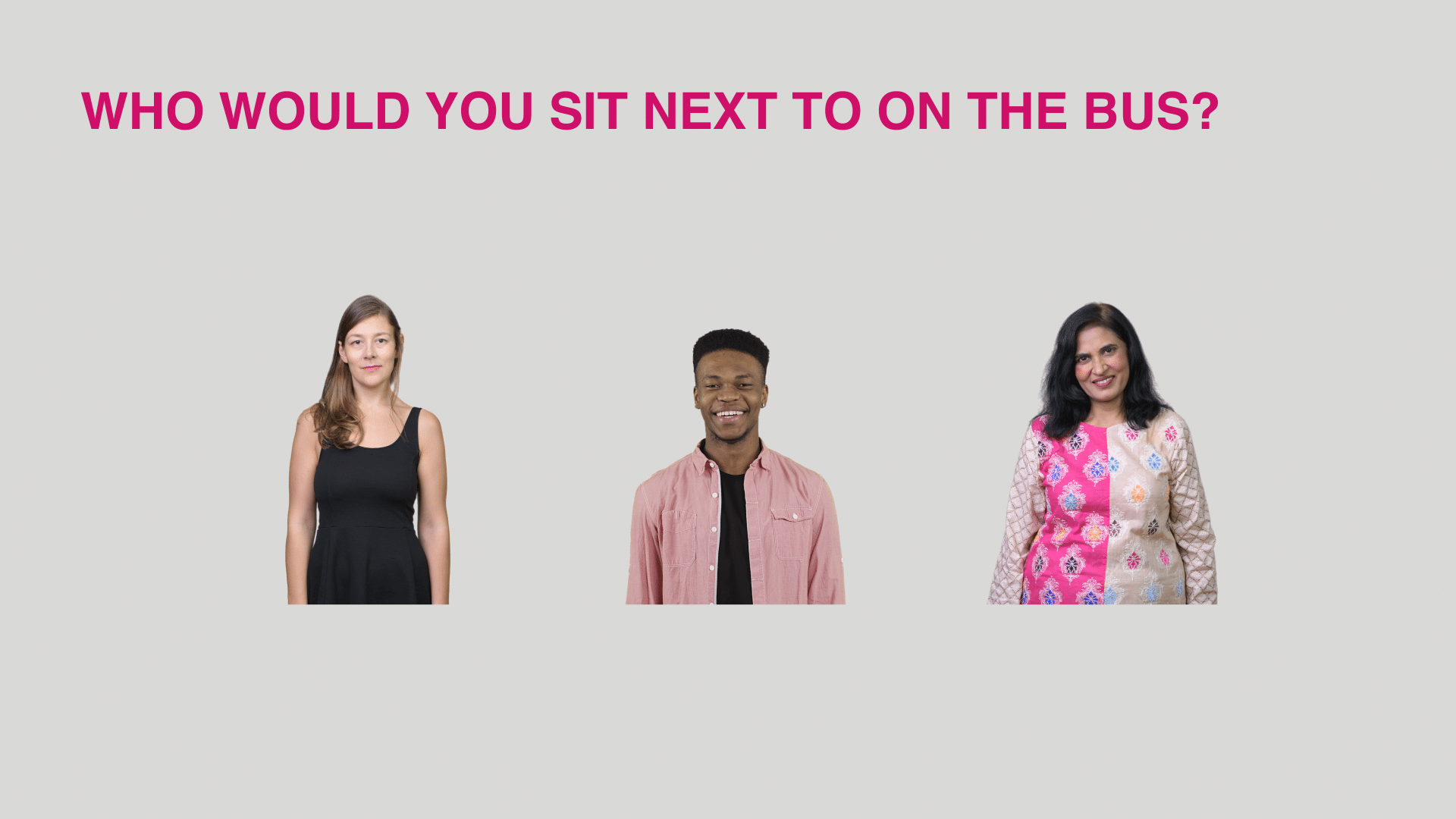 Unconscious bias training exercise - Who would you sit next to on the bus
