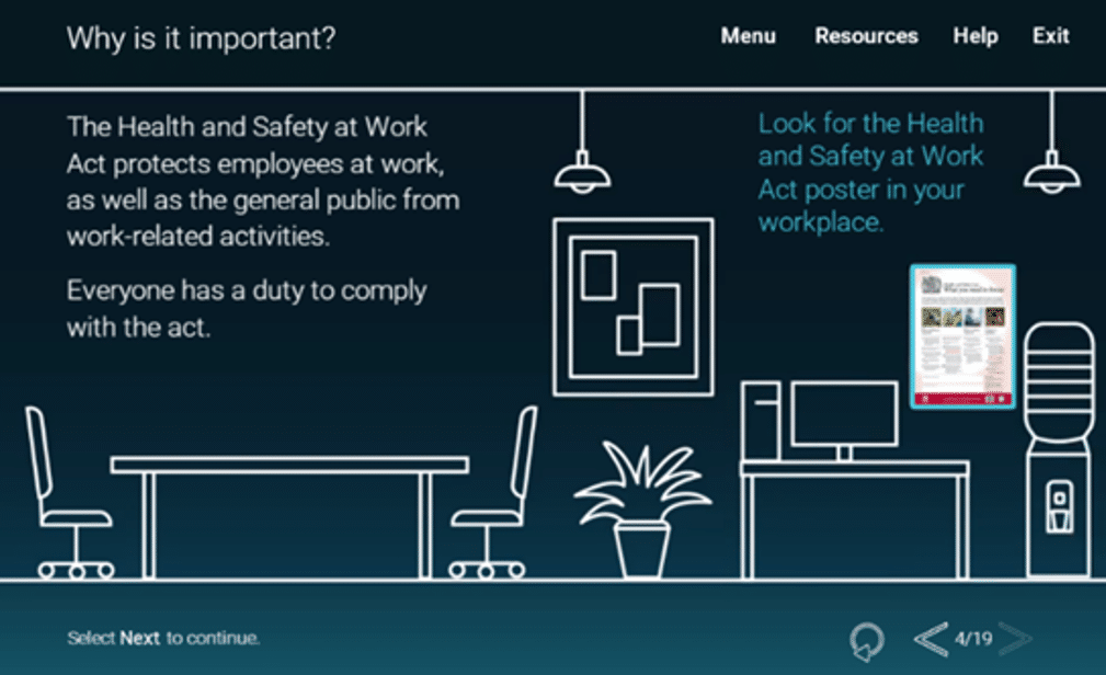 NATS health and safety elearning screen example